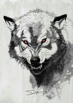 Wolf Art Print by diklow Wolf Tattoos, Fantasy Wolf, Fantasy Art, Wolf Growling, Fenrir Tattoo, Animal Drawings, Art Drawings, Wolf Drawings, Anime Wolf Drawing