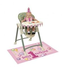 Girls 1st Birthday High Chair Decoration Kit
