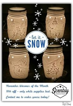 Let it snow Scentsy warmer November 2015 Warmer of the Month. https://jgreathouse.scentsy.us