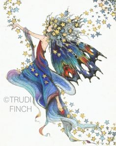 Trudi Finch, Rainbow Fairy - this is in my bedroom Fairy Dust, Fairy Land, Fairy Tales, Magical Creatures, Fantasy Creatures, Fantasy Kunst, Fantasy Art, Art Magique, Rainbow Fairies