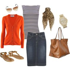 orange cardigan sweater, black and white striped shirt, denim skirt outfit