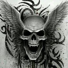 Vampire Skull with wings .  #431. *LadySkull*