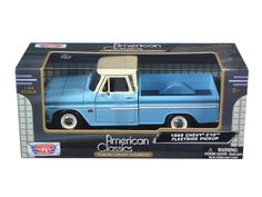 1966 Chevrolet C10 Fleetside Pickup Truck Blue with Cream Roof 1/24 Diecast Model by Motormax - Brand new 1:24 scale diecast car model of 1966 Chevrolet C10 Fleetside Pickup Truck Blue / Cream die cast car by Motormax. Brand new box. Rubber tires. Detailed interior, exterior. Has opening hood and doors. Made of diecast with some plastic parts. Dimensions approximately L-7.5, W-3, H-2.5 inches. Please note that manufacturer may change packing box at anytime. Product will stay exactly the…