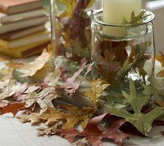 fall decor #leaves #autumn #candles