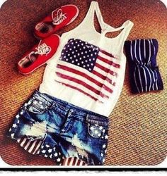 shorts, american flag, tank top, red, blue, bandeau | Wheretoget.it Clothes Outift for • teens • movies • girls • women •. summer • fall • spring • winter • outfit ideas • dates • parties Polyvore :) Catalina Christiano