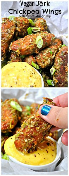 Vegan Jerk Chickpea Wings with Sweet Mango Dip
