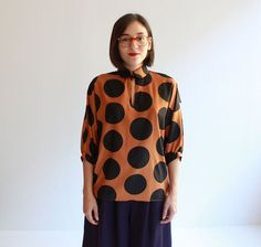 polkadot  tan blouse s  m by cheapopulance on Etsy, $85.00