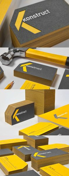 Clever Die Cut Layered Striking Black And Yellow Business Card Design