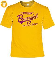 Fun T-Shirt - German Powergirl seit 18 Jahren - geniale Geschenkidee zum 18. Geburtstag - Farbe: Gelb - Goodman Design (*Partner-Link)
