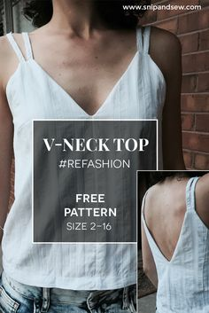 Upcycle a men's shirt into a V-Neck top for women. Free Pattern included. Sizes 2-16/ 34-48 You'll find more tutorials and patterns in https://www.snipandsew.com/blogs/upcycling