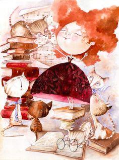 Concierto de gatos entre libros (ilustración de Gabi Baracsi)