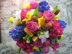 Colourful bouquet of Hyacinth, Rose, Tulip and Rhododendron