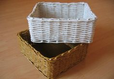 10 DIY Rolled Paper Crafts From Recycled Magazines Newspaper Basket, Newspaper Crafts, Paper Basket Weaving, Making Baskets, Rectangular Baskets, Recycled Magazines, Rolled Paper, Konmari, Diy Paper