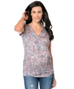 d7666f49a14cd6 Motherhood Maternity Cap-Sleeve V-Neck Printed Ruched Top   Reviews -  Maternity - Women - Macy s
