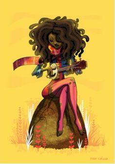 Black Art Lady on the Rock Natural Hair Art, Pelo Natural, Natural Hair Styles, Au Natural, Natural Beauty, Black Girl Art, Black Women Art, Art Girl, Black Girls
