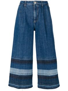 washed striped denim trousers
