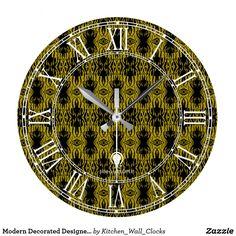Modern Decorated Designer#23 Wall Clock Buy Online https://www.zazzle.com/kitchen_wall_clocks/products?rf=238136051362953437