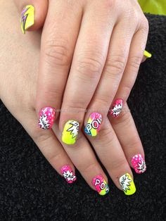 Freehand neon pop art nail art over acrylic nails