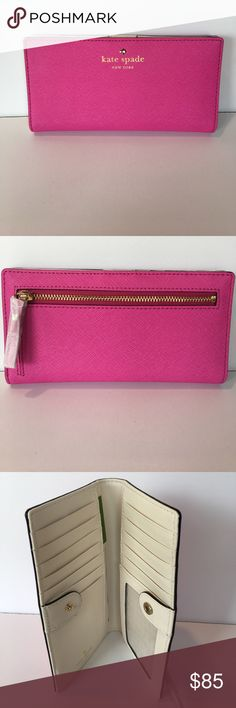 Kate Spade Mikas Wallet NWT NWT Kate Spade Wallet 14 Card Holders and one Clear Holder. Zipper Pocket in back. Snap Closure.Color Snapdragon (Pink). kate spade Bags Wallets