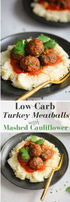This Low-carb Turkey Meatballs with Mashed Cauliflower is a delicious meal for your low-carb diet. The meatballs are made with parmesan cheese and almond flour and the mashed cauliflower has a perfect smooth texture that you and your family will love.