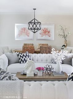 Gorgeous living room - obsessed with the pendant light!