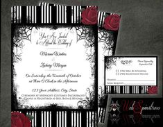 Printable Gothic Wedding Invitations  Roses & by WebSpinstress