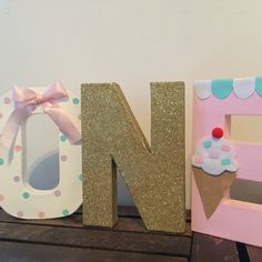 Adorable ice cream letters. Great for your little one ice cream birthday party, cake smash props Created and design by yours truly AwesomePaperCreation.