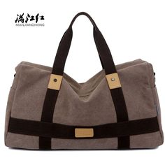 MANJIANGHON Vintage Canvas Leather Men Travel Bag Carry on Luggage Bags Men Duffel Bags Travel Tote Large Capacity Bag Overnight