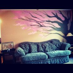 Sakura tree that I painted in my old apartment. Tip: Always stencil out your tree first! :)