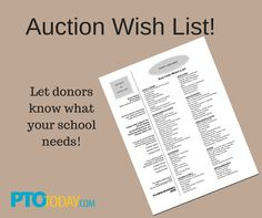 Create a list to provide potential donors so they know what your school needs.
