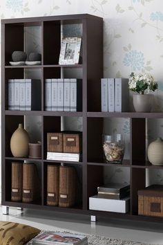 W.I. Modern Furniture  Sunna Modern Cube Shelving Unit - Dark Brown  $164.00