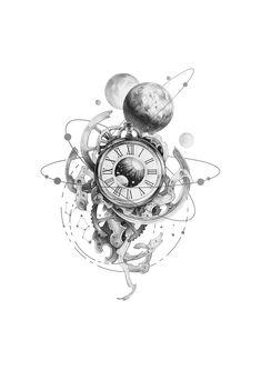 Clock Design İdeas 362469470008701798 - Source by carolengln Leg Tattoos, Body Art Tattoos, Small Tattoos, Sleeve Tattoos, Cool Tattoos, Tatoos, Mago Tattoo, Clock Tattoo Design, Planet Tattoos