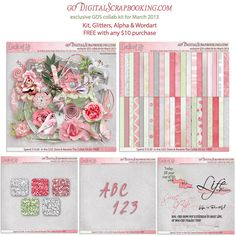 GDS Collab Kit Quick Page Exchange ~ March - goDigitalScrapbooking - free in March for $10.00 purchase