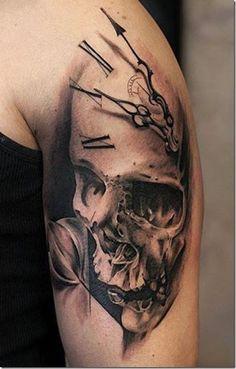 40 Interesting Skull Tattoo Designs For You - Tattoos - Tattoo-Ideen Neue Tattoos, 3d Tattoos, Body Art Tattoos, Sleeve Tattoos, Cool Tattoos, Tattos, Belly Tattoos, Wing Tattoos, Eagle Tattoos