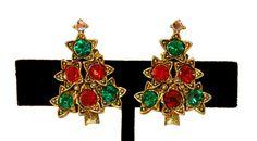 Vintage Pakula Christmas Tree Earrings by MadgesHatBox on Etsy, $50.00