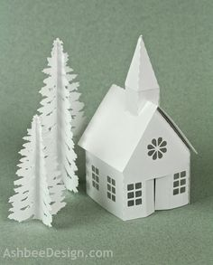 Ashbee Design Silhouette Projects: Tea Light Village • Pine Tree Tutorial