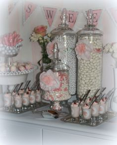 Pink & White Romantic Candy & Dessert Table for Bridal Shower Wedding & Event Planning/ The Perfect Table cape Cod