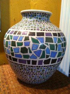 Vintage Ceramic Pottery Barn Mosaic Tile Vase Pottery Indian MINT