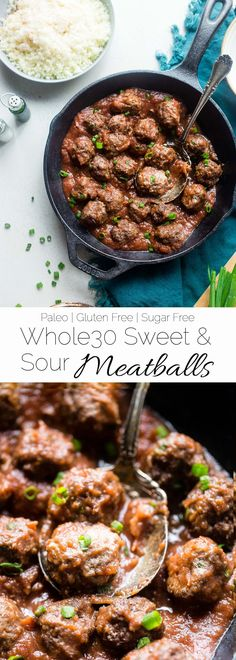 Whole30 Sweet and Sour Meatballs - These easy paleo meatballs are a healthy remake of a classic recipe that is gluten free and whole30 complaint! They're a weeknight meal that everyone will love! | Foodfaithfitness.com | @FoodFaithFit