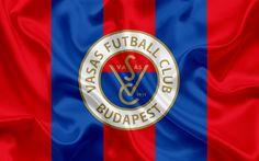 Lataa kuva Vasas FC, Unkarilainen Jalkapalloseura, tunnus, logo, silkki lippu, Budapest, Unkari, jalkapallo, Unkarin football league