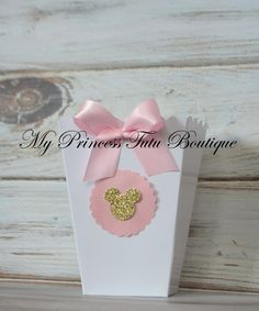 Minnie Mouse Popcorn Boxes Pink & Gold by MyPrincessTutuBoutiq