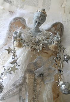 """10 1/2"""" LIGHTED Angel Tree Topper Holding Unique Garland with Vintage Lace Dress Christmas Angel Decoration Hand Sewing  Home Decor by TheVintageStories on Etsy"""