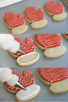 Mitten cookies- awesome frosting job on these cookies!