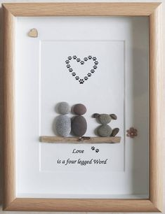 Pebble Art framed Picture Couple & Dog Love is a four