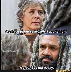 "Carol and King Ezekiel. The Walking Dead Season 7 Episode 13 ""Bury Me Here."" TWD S07 E13."