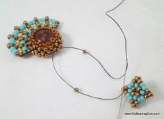 Peyote Stitch - Amber Ray Earrings