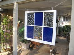 old window for garden...made with stain glass paint and marbles