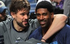 Thursday January 12, 2012 - Memphis Grizzlies center Marc Gasol, of Spain, (33) and Memphis Grizzlies guard O.J. Mayo (32) celebrate as bench players play out the victory over the Knicks at the FedExForum Thursday evening. (Nikki Boertman / The Commercial Appeal)