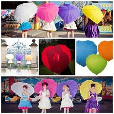 Heart shaped umbrellas - 12 colours, windproof, sturdy, and look fabulous in photographs whatever the weather!! http://www.loveumbrellas.co.uk/index.php?route=product/category=61