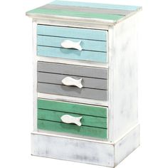 Perfect in your themed kids' room or eclectic living room, this 3-drawer nautical-inspired chest features a weathered finish, spa tones and whale detailing.